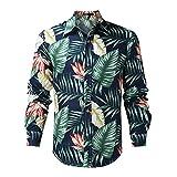 Luckycat Sudaderas con capucha Men's Printed Turn-Down Collar Long Sleeve Fashion Hawaiian Style Top Blouse
