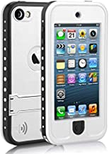 Waterproof Case for iPod 5 iPod 6 iPod 7, Meritcase Waterproof Shockproof Dirtproof Snowproof Case Cover with Kickstand for Apple iPod Touch 5th/6th/7th Generation for Swimming Diving Surfing (White)