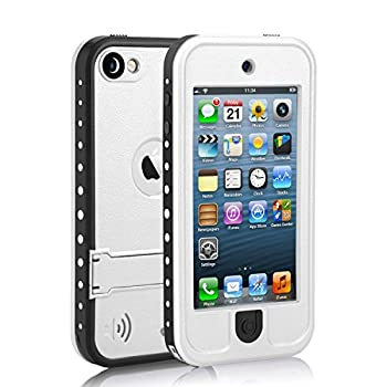 Waterproof Case for iPod 5 iPod 6 iPod 7 Meritcase Waterproof Shockproof Dirtproof Snowproof Case Cover with Kickstand for Apple iPod Touch 5th/6th/7th Generation for Swimming Diving Surfing  White