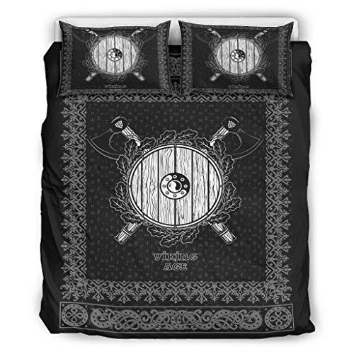 Twelve constellations Juego de ropa de cama vikingo de microfibra, para todo el año, 1 funda nórdica y 2 fundas de almohada, para toda la temporada, color blanco, 229 x 229 cm