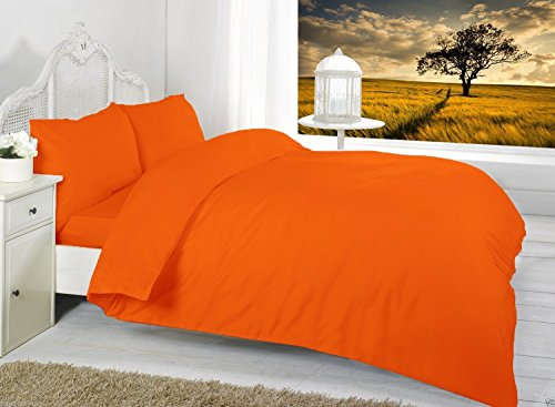 Penthouse Sleep Beautiful Plain Orange Duvet Cover Set Luxury Polycotton choose Single Double King Super King or Pillow Pair (Single)