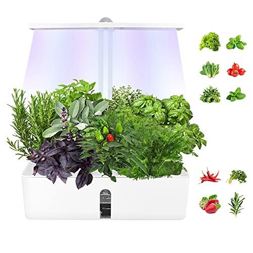 MATHOWAL Sistema de Cultivo hidropónico con luz de Crecimiento LED, jardín de Hierbas Interior Ajustable en Altura, Maceta de jardín...