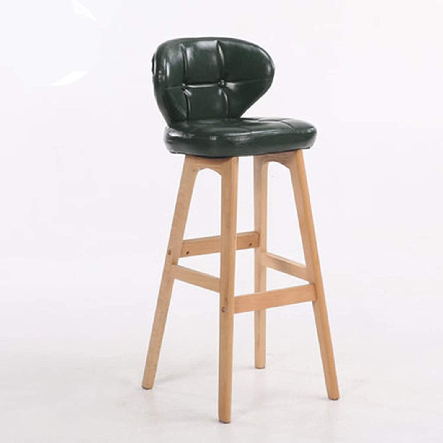 Barstools - Creative Cafe Bar Stool European Style Iron Art High Foot Chair Solid Wood Leather Seat Counter Leisure Office Household 0426A (color   Green (Wood), Size   68cm Seat Height)