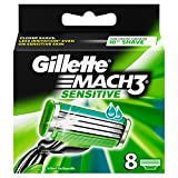 Gillette Mach3 - Sensitive - Lames de Rasoir - Pack de 8