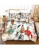 WLL 3 Pieces Bedding Sets 3D Football Star-Cristiano Ronaldo CR7 Hat-Trick Print Comforter Sets 100% Microfiber 3D Print (1 Duvet Cover 2 Pillow Shams) (Color : A, Size : US-Full 200229cm)