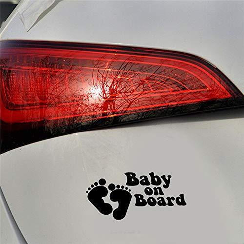 15,2 cm x 7,2 cm Baby an Bord Ing Auto Aufkleber mit individuellen Fußabdrücken Auto Aufkleber Laptop Aufkleber schwarz