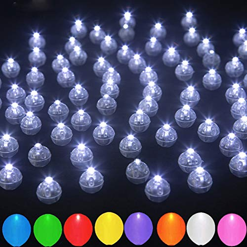 JJGoo Balloon Lights, 30pcs Led Lights for Balloons, Mini Round Long Standby Time for Paper Lantern Balloon Light Party Wedding Decoration