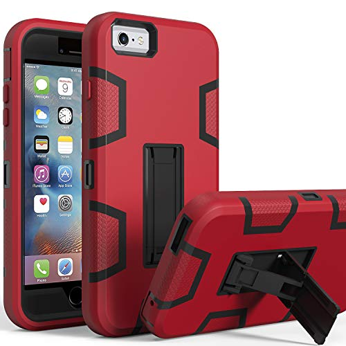 LUCKYCAT iPhone 6s Plus Case,iPhone 6 Plus Case,Kickstand Case for iPhone 6s Plus, Anti-Scratch Anti-Fingerprint Heavy Duty Protection Shockproof Rugged Cover for 5.5inch iPhone 6s Plus-RED