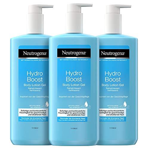 Neutrogena Hydro Boost Body Lotion Gel (3x400ml) - Erfrischende und ultraleichte Bodylotion mit Hyaluron - Feuchtigkeitscreme für normale bis trockene Haut