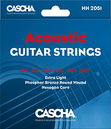 Cascha Premium Gitarren-Saiten-Set I Stahl-Saiten für Akustik- & Western-Gitarren I sehr gute Klang-Qualität & hohe Lebensdauer I hochwertiges 6-Saiten-Set I Acoustic Guitar Steel Strings 6 Stück