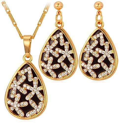 WSBDZYR Co.,ltd Collar de Moda único Conjunto de Collar de Esmalte Negro Collar de Gota de Agua con Pendientes de Diamantes de imitación de Color Dorado Conjunto de Joyas para Mujer