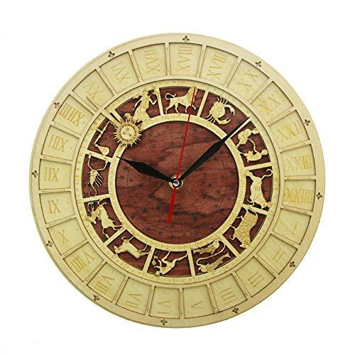 XXYMCB Holz Uhr rustikale Wanduhr Astrologie Wissenschaft Sternzeichen Wandkunst Vintage astronomische Sternbilder Uhr