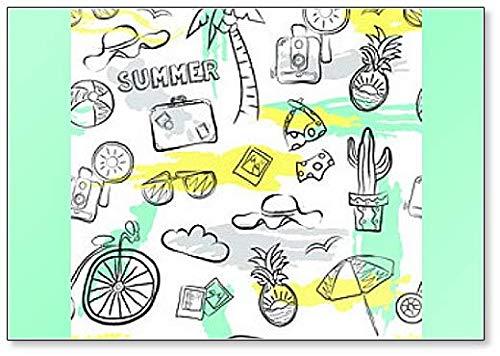 Naadloos zomerpatroon met ananas, hoed, koffer, camera, fiets, bril Koelkast magneet