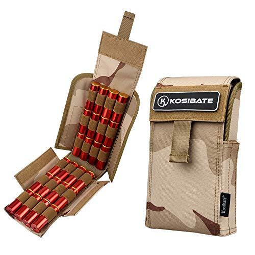 Kosibate Shotgun Shell Pouch,12 Gauge Molle Holder 25 Round for Tactical Vest Multicam BCU …
