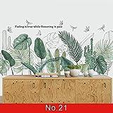 XZPQSSW Sticker Mural de la Feuille Verte Nordique pour la Chambre à Coucher Salon décor 3D Tuile Stickers Vinyle Décalque d'écran Décoration de Maison Tapisserie (Couleur : No.21, Size : Large)