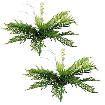 """SN Decor Artificial Fern Bush Set of 2 Faux Fern Plants  16""""x8""""  for Indoor and Outdoor Decorative Shrub Fake Leaves - New"""