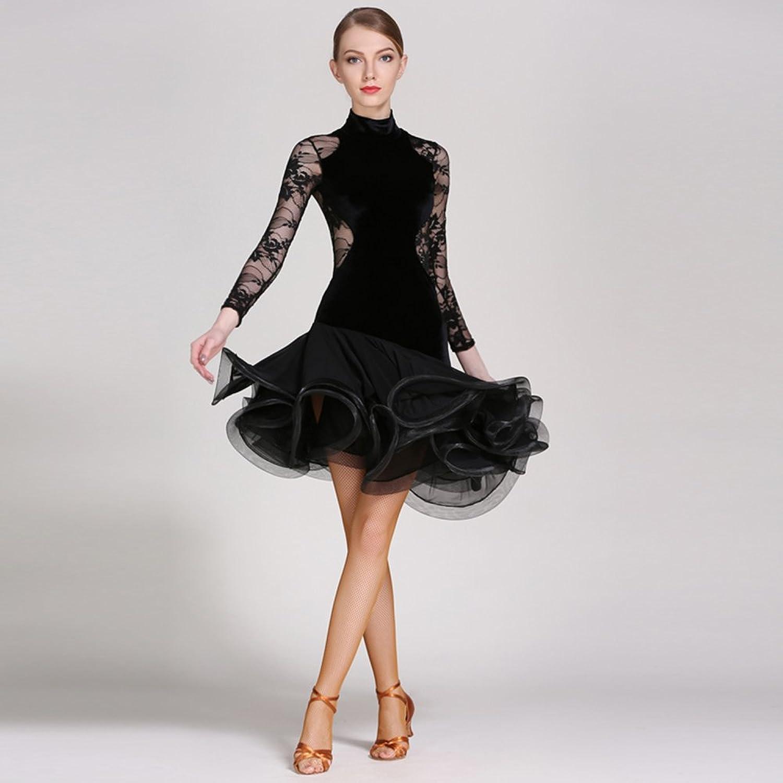 17d2b574e6 Modern Lady Big Pendulum Velvet Latin Dance Dress Dance Dress Dance ...