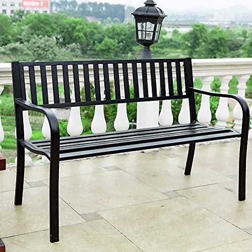 Banco de parque al aire libre, sillón, estructura de acero de hierro fundido, asiento trasero de jardín de metal, banco de patio de hierro forjado para exteriores con apoyabrazos, utilizado para el pa