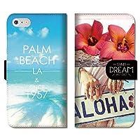chatte noir iPhone11 手帳型ケース iPhone 11 手帳型 PUレザー ケース おしゃれ 海 ビーチ ハワイ aloha アロハ サーフ surf ハイビスカス B 手帳ケース
