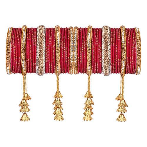 Efulgenz Indisches Armreif-Set Boho Antik oxidiert Indischer Schmuck Strass Kristall Metall Armband Armreif Set (58 Stück)