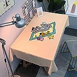 Mantel Antimanchas Rectangular Protector de Mesa Lavable Impermeable Manteles 120X160Cm Mantel Rectangular Adecuado para La decoración de La Cocina - Beige, Gato Y Ratón