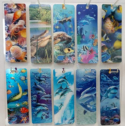3 D Realistic Lenticular Bookmarks with Tassel Sea Life 10 Pack