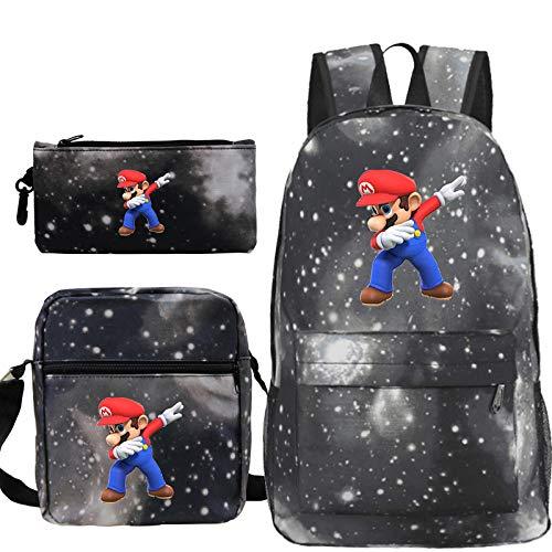 Super Mario Anime Backpack for Boys Girls School Bags Super Mario Student Backpack Kids Travel Backpacks Shoulder Bag Pen Bag 31 3Pcs Set
