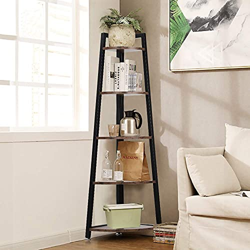 Wooden Corner Shelf, 5-Tier Industrial Storage Display Shelving Rack Ladder Bookcase Ladder Shelf Corner Bookcase Wood with Metal Frame for Home Office Living Room Rustic Brown and Black 34*34*125CM