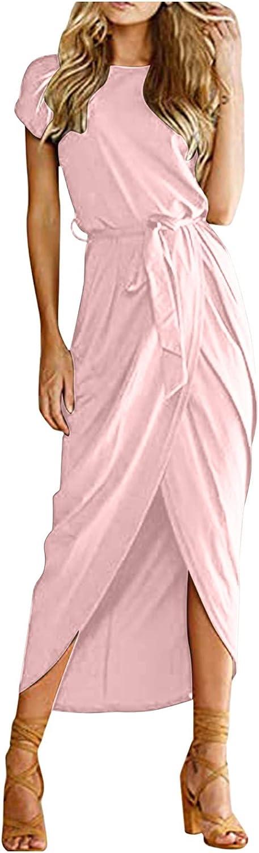 Women Midi Long Dress Short Sleeve O Neck Split Hem Sexy Dresses Slim Fit Party Night Out Business Work Dress with Belt