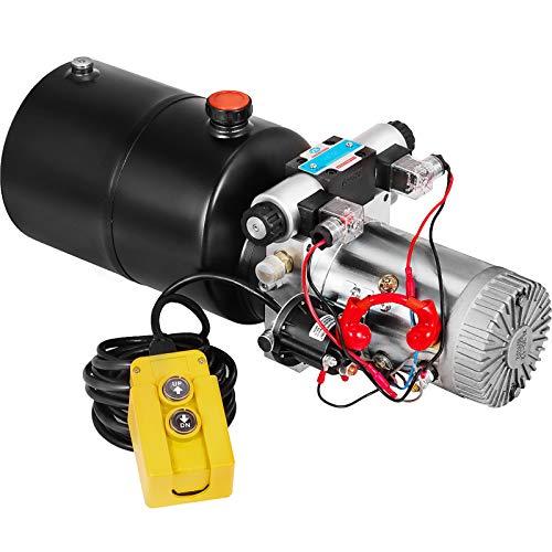 Mophorn Hydraulic Power Unit 6 Quart Hydraulic Pump Double Acting Hydraulic Power Unit for Dump Trailer Car Lifting 12V DC (Steel, Round/Single Solenoid)