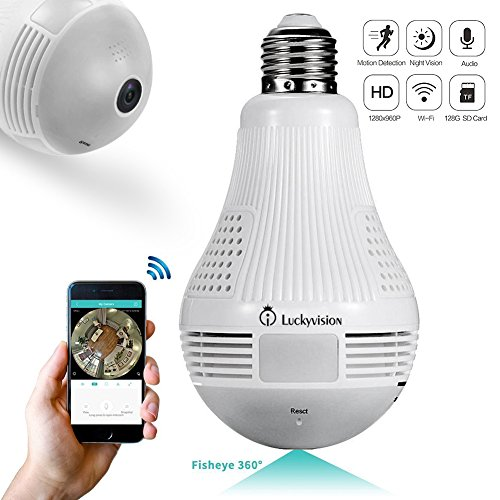 IP Camera, HD Wifi Wireless Smart Camera with Fisheye Lens, Remote Home Panoramic Security Camera, Motion Detection and Two Way Audio