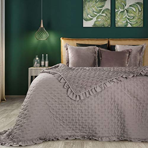 Eurofirany Romantische Tagesdecke, Steppdecke, Bettüberwurf Muster LIBI, einfarbige Überdecke, Steppung, Rüsche. (Altrosa, 220 x 240 cm)