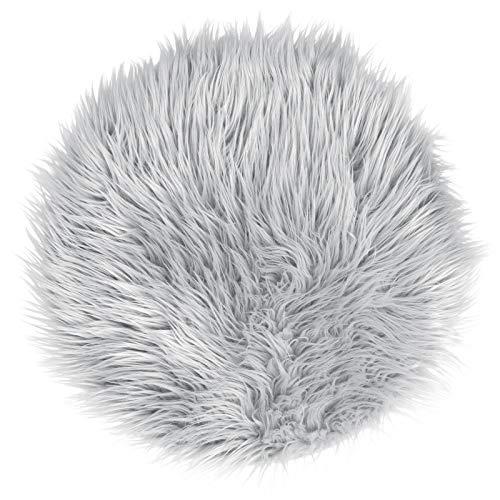 Pure Label Schaffell- Lammfell- Kunstfell- Imitat für Wohn und Schlafzimmer. Dekofell für den Stuhl/Tisch (Grau/Silber - 40 cm rund)