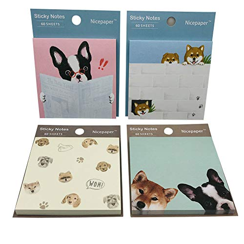 Nicepaper Cute Colored Self-Sticky Notes in Study Dog, Family Dog, Change Face Dog, Expression Dog and Lovers Dog Shapes, 60 Sheets Pastel Sticky Notes Set, A Pack of 4, Nice Gift