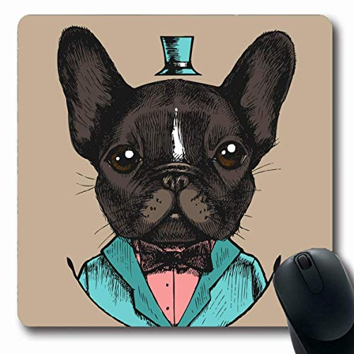 RWYZPAD Mousepad Oblong 8.7x7.5 Inches French Bulldog Tuxedo Artwork Costume Hand Drawn Beauty Fashion Funny Elements Top Pets Textures Non-Slip Rubber Mouse Pad Office Computer Laptop Games Mat