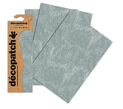Decopatch Pack de Papel Decorativo de Pelo Swirly, Juego de 3, Gris