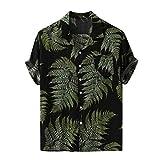 JiaMeng_ZI Ropa de Moda, Hawaiana Botones Camisa Casual Suelto Manga Corta Shirt Blouse Colorful Verano Cárdigan Transpirable Tejido Compuesto Tops