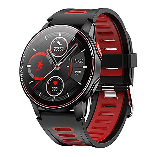 TETHYSUN Reloj inteligente L6 Smart Watch, 1.3 pulgadas Full Touch Ronda Ip68 impermeable Sport Smartwatch, con monitor de frecuencia cardíaca, para Android iOS Fashion (tamaño: rojo)