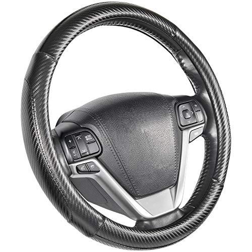 "SEG Direct Steering Wheel Covers Black Carbon Fiber Pattern Large Size 15 1/2""-16"" for F150 F250 F350 Ram 4Runner Tacoma Tundra Range"