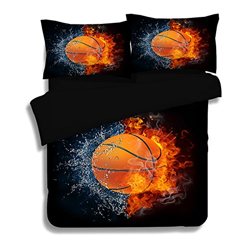 Dodou 3D basketball printing Bedding Sets Soft and comfortable Bed Linens Bedding 100% polyester Duvet Cover Sets 3pcs (Twin)