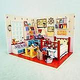 tytlmodel Ensamble Bricolaje Casa Muñecas,Casas Muñecas Juguete En Miniatura Madera,Tiny Villa Loft Juguete con Muebles Polvo Cubierta del Led,para El Regalo Cumpleaños La Navidad,190 * 141 * 141Mm