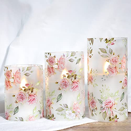 SILVERSTRO Flameless Candles Blinks with 6H Timer, Love Theme LED Candles, Rose Series Glass Pillar Candles for Home Party Wedding Christmas Decor - Set of 3
