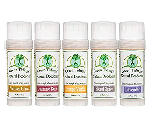 Natural Deodorant 2.7 Ounce Sampler 5 Pack (SAVE 15%), All Natural Organic Deodorant for Women & Men Aluminum Free Antiperspirant Deodorant (Vetiver Citrus, Orange Vanilla, Jasmine Rose, Floral Spice, Lavender), Large 2.7oz Each - 5 Pack