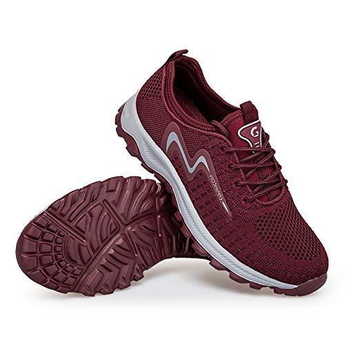 COVERLETWARM Zapatillas de deporte para mujer, ligeras, para el tiempo libre, para correr, entrenar, para actividades al aire libre, fitness, gimnasio, caminar., color Rojo, talla 37 EU