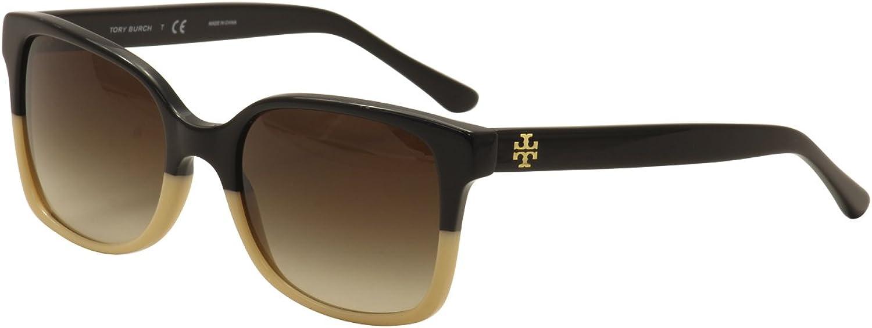Tory Burch Women's TY7103 TY 7103 1236 13 Black Cream Fashion Square Sunglasses 54mm