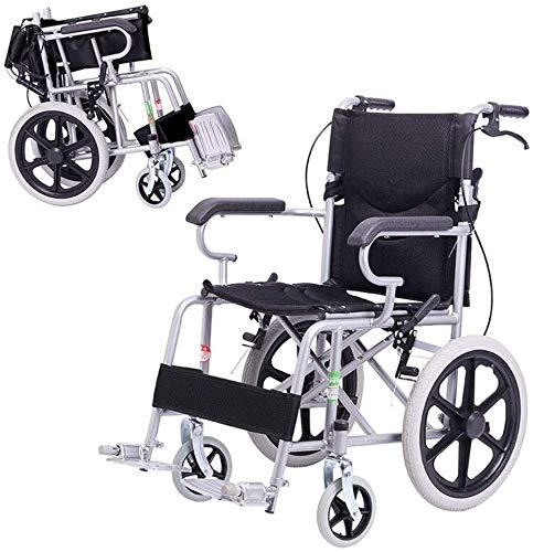 XXY.XXY Klappbarer Rollstuhl aus Stahl für Rollstühle, Steighilfe, 21-Zoll-Kleinrollstuhl, Nettogewicht 11 kg, Geeignet für Kinder und bedürftige Personen (Farbe: Schwarz)