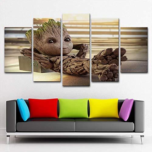 X&MM Wand Kunst Malerei 5 Stück Gedruckt Leinwand Baby Groot Poster Home Decor,A,S