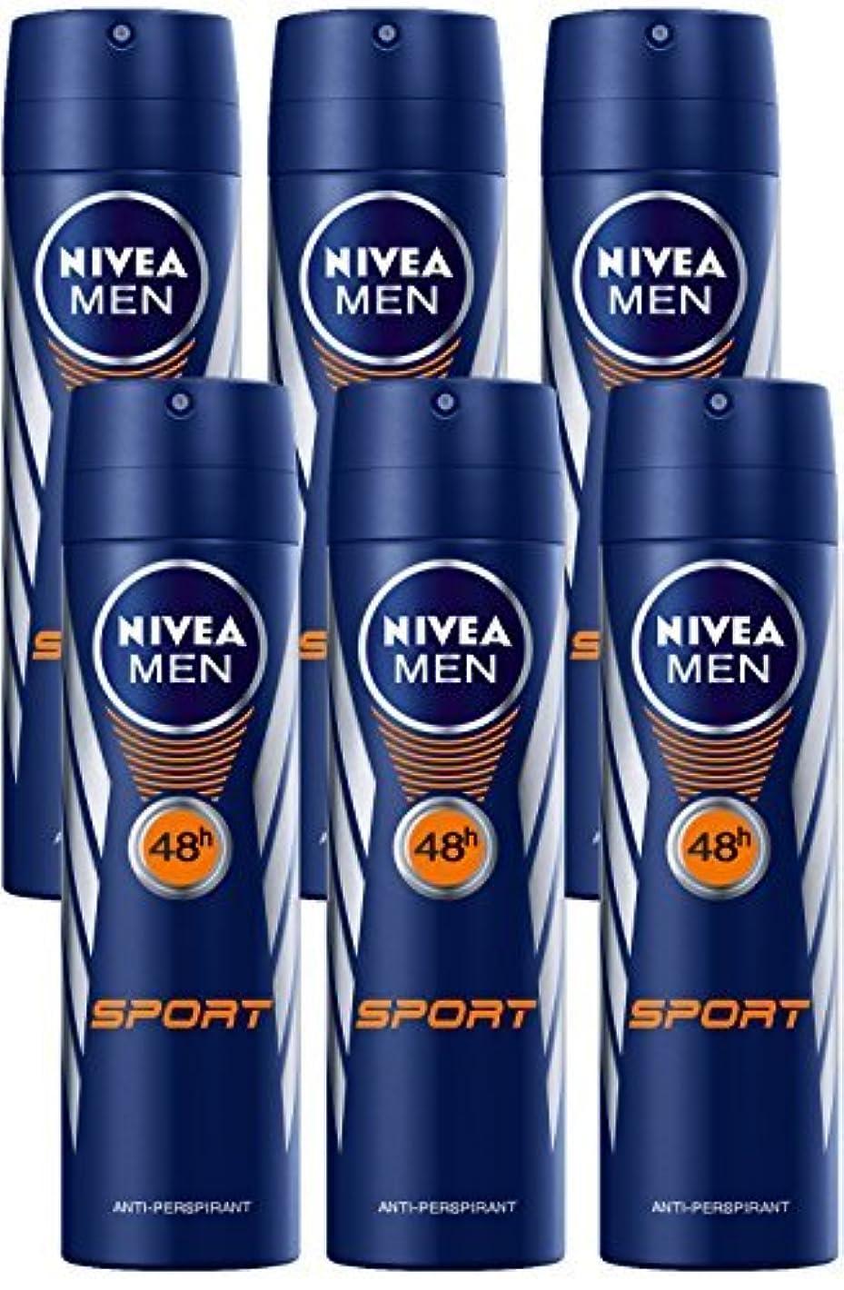 昆虫遠え反発Nivea for Men Sport Deodorant/Antiperspirant Spray 150ML (6 Pack) - 並行輸入品 - Nivea for Menスポーツデオドラント/制汗剤スプレー150ML(6パック)