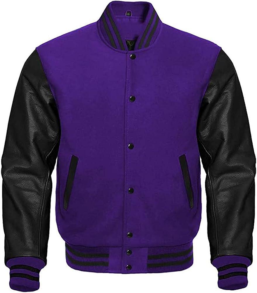 Varsity Letterman Baseball Purple Wool /& Black Genuine Leather Sleeves Jacket