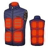 Orgrul Chaleco calefactor USB 2021, chaleco eléctrico para hombre y mujer, ajustable a 3 temperaturas, lavable, chaqueta de invierno con calefacción para exteriores, senderismo, camping 5E2, azul, XL